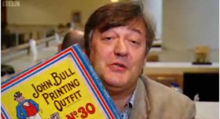 Stephen Fry and a John Bull Printing Outfit